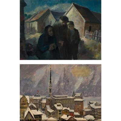 Jacob Steinhardt, 'Family and Rooftops in Winter: a double sided work'