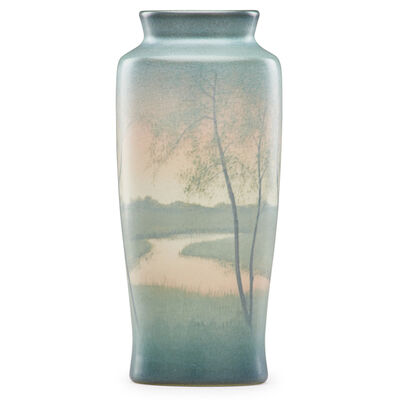 Rookwood Pottery, 'Scenic Vellum vase with sunset', 1912