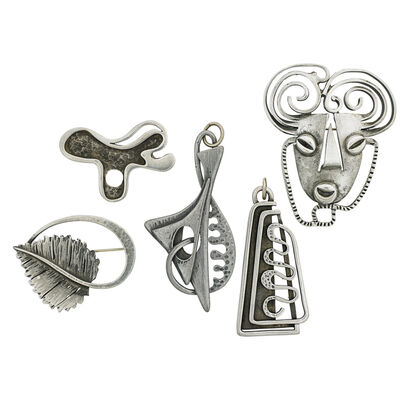 Frank Rebajes, 'Two Pendants And Three Brooches, New York'