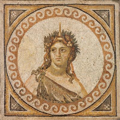 'Floor mosaic fragment depicting Bacchus, Roman', 325-330