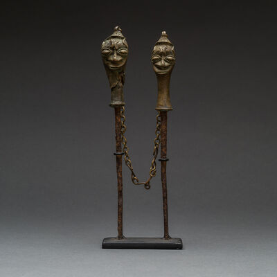 Unknown Yoruba, 'Yoruba Linked Pair of Brass Edan Sculptures', 19th Century AD to 20th Century AD