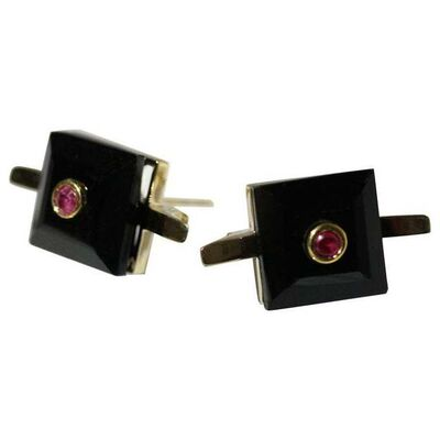 Unknown Designer, '9 Karat British Yellow Gold Set with Black Onyx and Ruby Cocktail Earring Studs', 2010