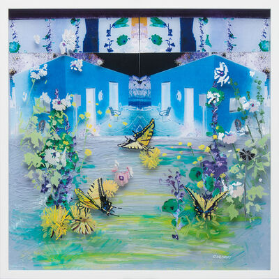 Gail Norfleet, 'Blue Studio and Hollyhocks', 2017