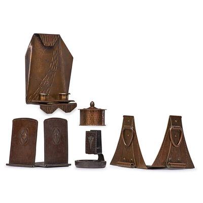 Roycroft, 'Two Pairs Of Bookends, Candle Sconce, Inkwell and Match Holder, East Aurora, NY', 1910s-20s