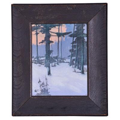"Sallie Coyne, 'Fine Scenic Vellum plaque, ""Winter Enchantment,"" Cincinnati, OH', 1915"