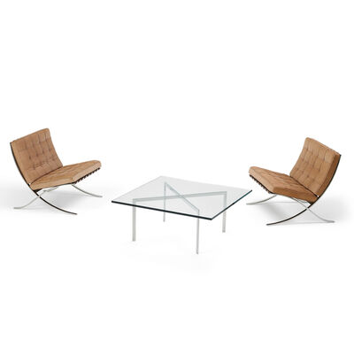 Ludwig Mies van der Rohe, 'Pair of Barcelona chairs and coffee table', 2000s