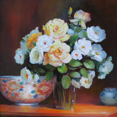 Jacqueline Fowler, 'Peace Roses with Imari Bowl'