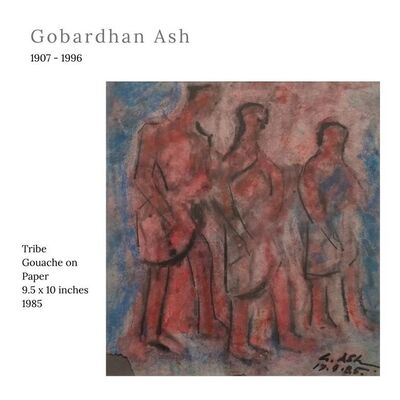 """Gobardhan Ash, 'Tribal, Gouache on Paper by Modern Indian Artist """"In Stock""""', 1985"""