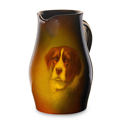 Edward T. Hurley, 'Standard Glaze pitcher with Saint Bernard dog, Cincinnati, OH', 1898