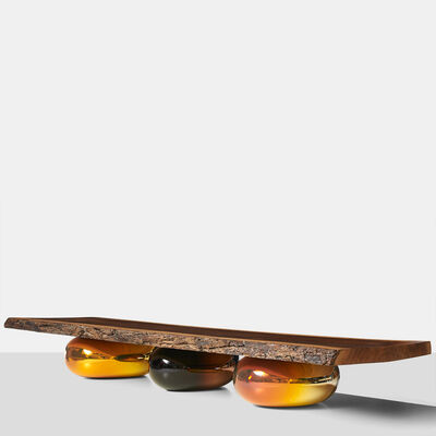 Jeremy Maxwell Wintrebert, 'American Walnut Coffee Table on Mirrored Glass Bases', 2016