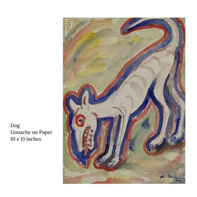 """Gobardhan Ash, 'Dog, Gouache on Paper by Modern Indian Artist """"In Stock""""', 1955-1985"""