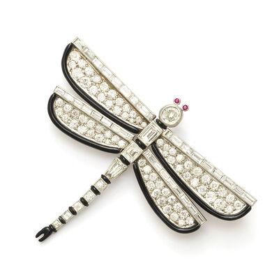 Janesich, 'Art Deco Diamond and Enamel Dragonfly Brooch by Janesich', ca. 1930