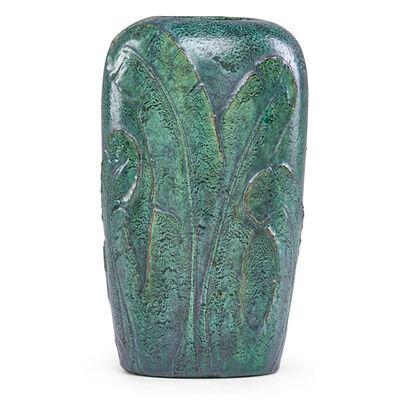 Merrimac Pottery, 'Vase with feathers, Newburyport, MA', ca. 1905