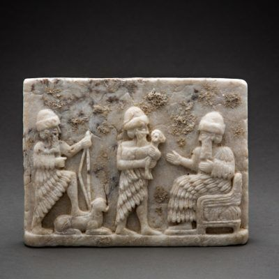 Unknown Sumerian, 'Sumerian relief plaque in calcite alabaster', 3000 BCE-2000 BCE