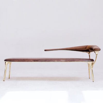 Valentin Loellmann, 'Brass and Walnut Lounge Chair ', 2019