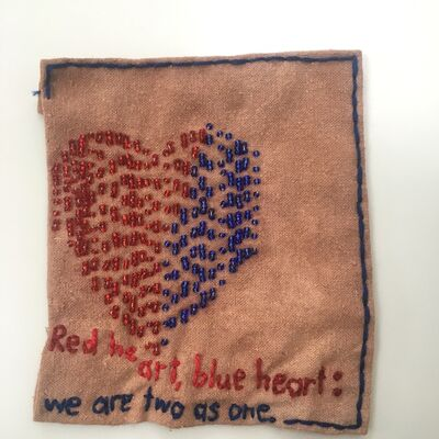 Iviva Olenick, 'Red and Blue Heart - Love narrative embroidery', 2019