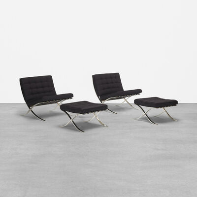 Ludwig Mies van der Rohe, 'pair of Barcelona chairs and ottomans', 1928