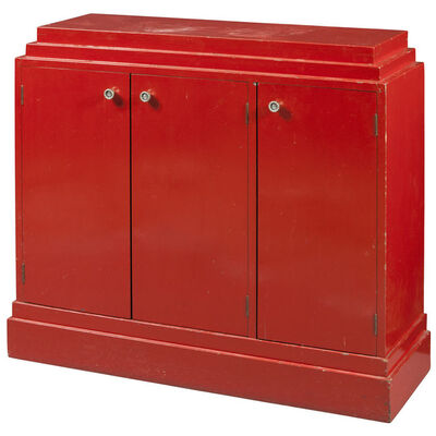 Paul T. Frankl, 'Red Lacquered Wood Cabinet', Circa 1938