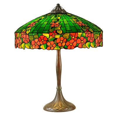"Handel, 'Rare ""Hollyhock"" Table Lamp, Meriden, CT', 1910s-20s"