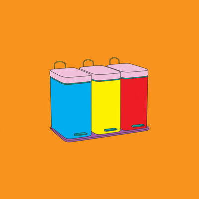 Michael Craig-Martin, 'Objects of Our Time: Recycling Bins', 2014