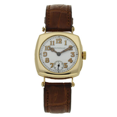 Patek Philippe, '18ct yellow gold cushion case wristwatch with enamel dial.', 1920