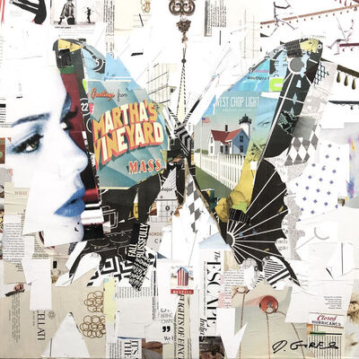 "Derek Gores, '""Island Flyer"" black and white collage of a butterfly with a woman ', 2019"