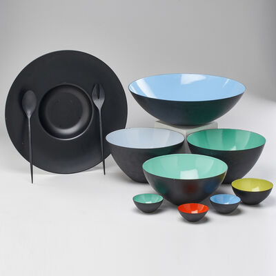 Krenit, 'Eleven pieces: two serving bowls, pasta bowl with underplate, bouillon cup, three open salts, salad bowl and utensil set', 1950s