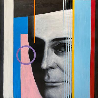 George Oswalt, ''Facebook,' Male Portrait thru Geometric Lens, by George Oswalt, Oil on Canvas', ca. 2010