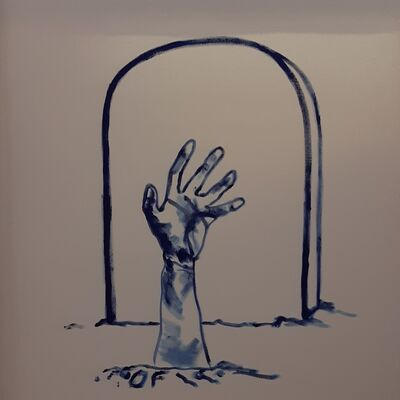 Oscar Figueroa, 'Blue Zombie Hand', 2019