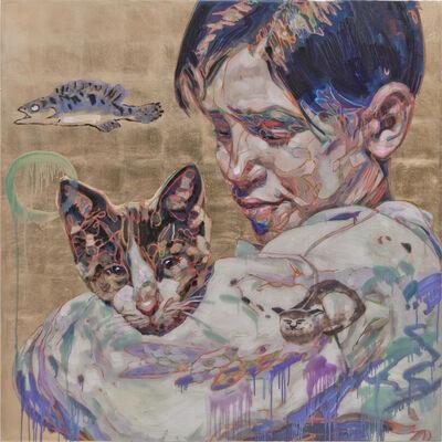 Hung Liu, 'Migrant Child: with Cat', 2018