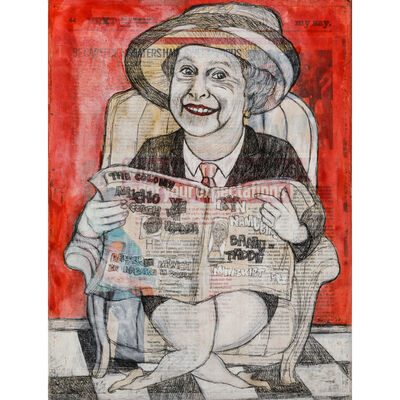Eria Sane Nsubuga, 'Elisabeth holding the colony (Newspaper)', 2017