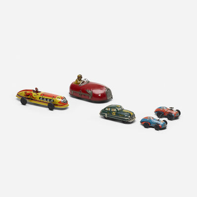 Unknown American, 'collection of five vintage toy cars', c. 1950
