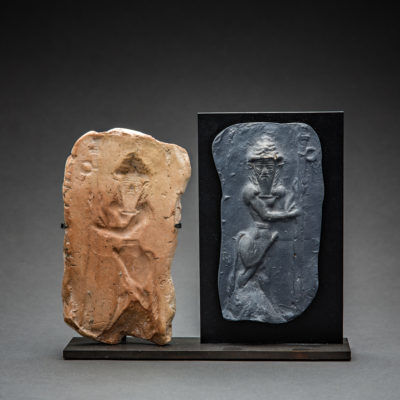 Near Eastern, 'Old Babylonian Clay Moulded Plaque of a Standing Deity', 2000 BCE-1700 BCE