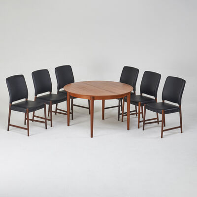 Arne Vodder, 'Six dining chairs and extension dining table', 1960s