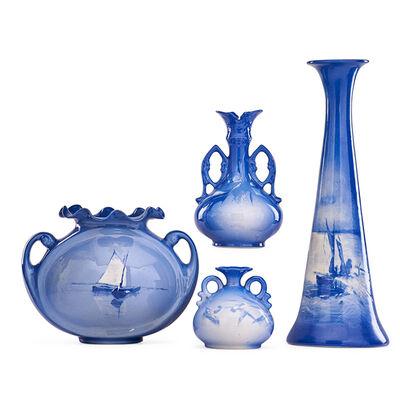 Roseville Pottery, 'Four Azurean Vases, Zanesville, OH', 1902