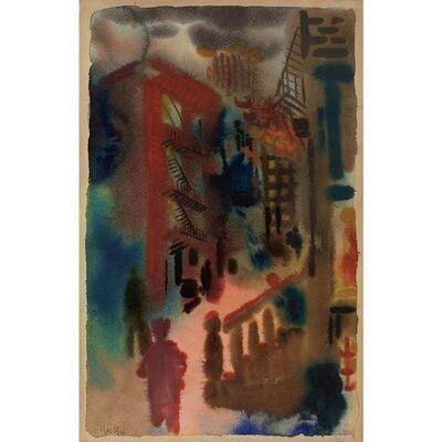 George Grosz, 'George Grosz NYC City Scene Modernism Watercolor  German Expressionism Weimar', 1933