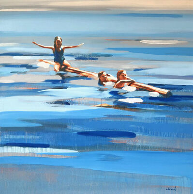 """Elizabeth Lennie, '""""Rabbit Lake"""" abstract oil painting of figures floating in the vivid blue water', 2018"""