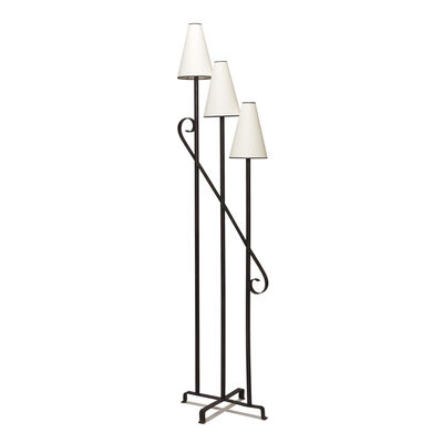 """Jean Royère, '""""Clé del Sol"""" standing lamp with three staggered lights and scrolling brace', ca. 1945"""