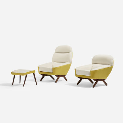 Illum Wikkelsø, 'Lounge Chairs, Set of Two And Ottoman', c. 1960