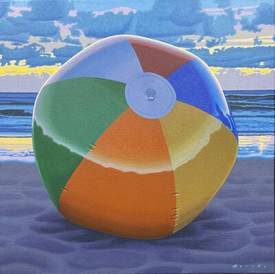 "Rob Brooks, '""Left Behind"" photorealistic oil painting of a colorful ball on the beach', 2020"