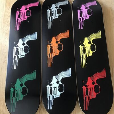"Andy Warhol, 'ANDY WARHOL ""GUNS"" TRIPTYCH SKATE DECKS LIMITED EDITION', 2015"
