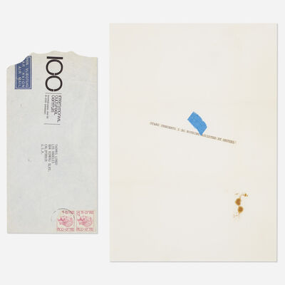 James Lee Byars, 'cut paper strip mailed to Tommy Longo', c. 1975