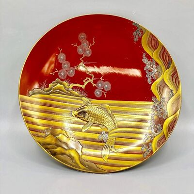 Japan, Edo Period, 'Japanese Lacquer Sake cup with maki-e design of waves and a carp in Gold and silver', 19th century