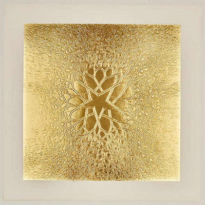 Ruth Asawa, 'Untitled (P.002-II, Tied wire tree with five pointed center star branching out to square, embossed [gold])', 1973