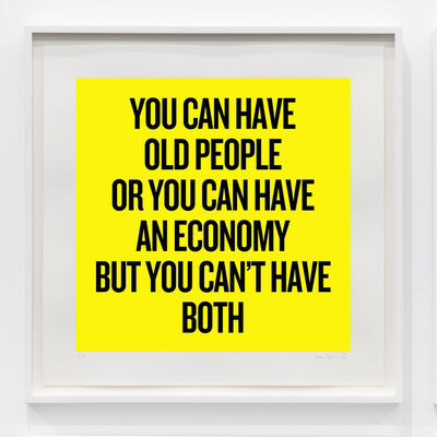 Douglas Coupland, 'You can have old people or you can have an economy but you can't have both', 2020