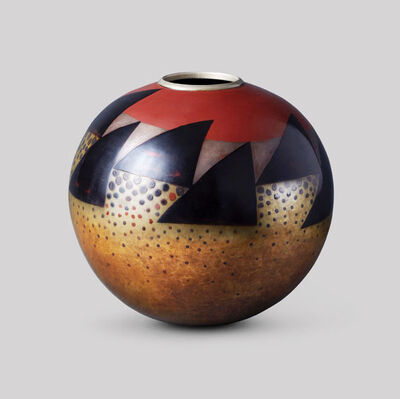 Jean Dunand, 'Spherical vase with triangles and dots', ca. 1925
