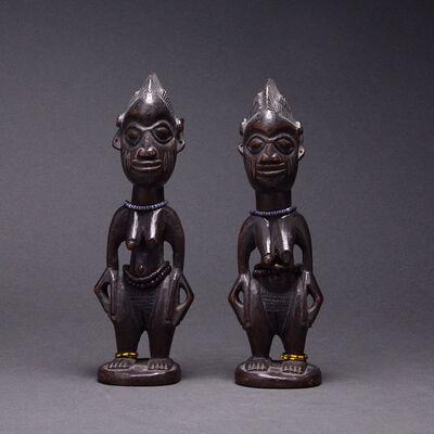 Unknown Yoruba, 'Pair of Yoruba Wooden Ibeji Dolls with Cowrie Shell Cloaks', 20th Century AD