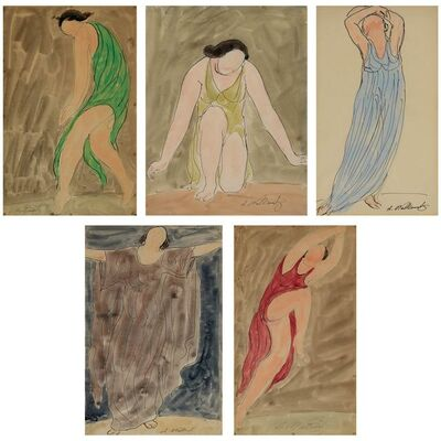Abraham Walkowitz, '(i) Isadora in Green; (ii) Isadora in Chartreuse; (iii) Isadora in Blue; (iv) Isadora in Lavender; (v) Isadora in Red'