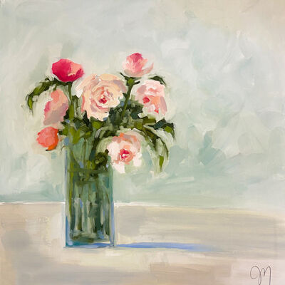 """Jill Matthews, '""""Seven Roses"""" impressionist style painting of pink roses in a tall glass vase', 2021"""