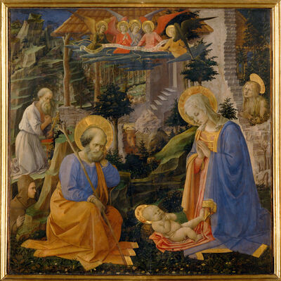 Fra Filippo Lippi, 'Adoration of the Child with Saints Jerome, Hilarion, Joseph, Mary Magdalene and Angels', ca. 1455
